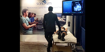 SonoSim at tradeshows showing ultrasound education technology, based on simulation and online ultrasound courses