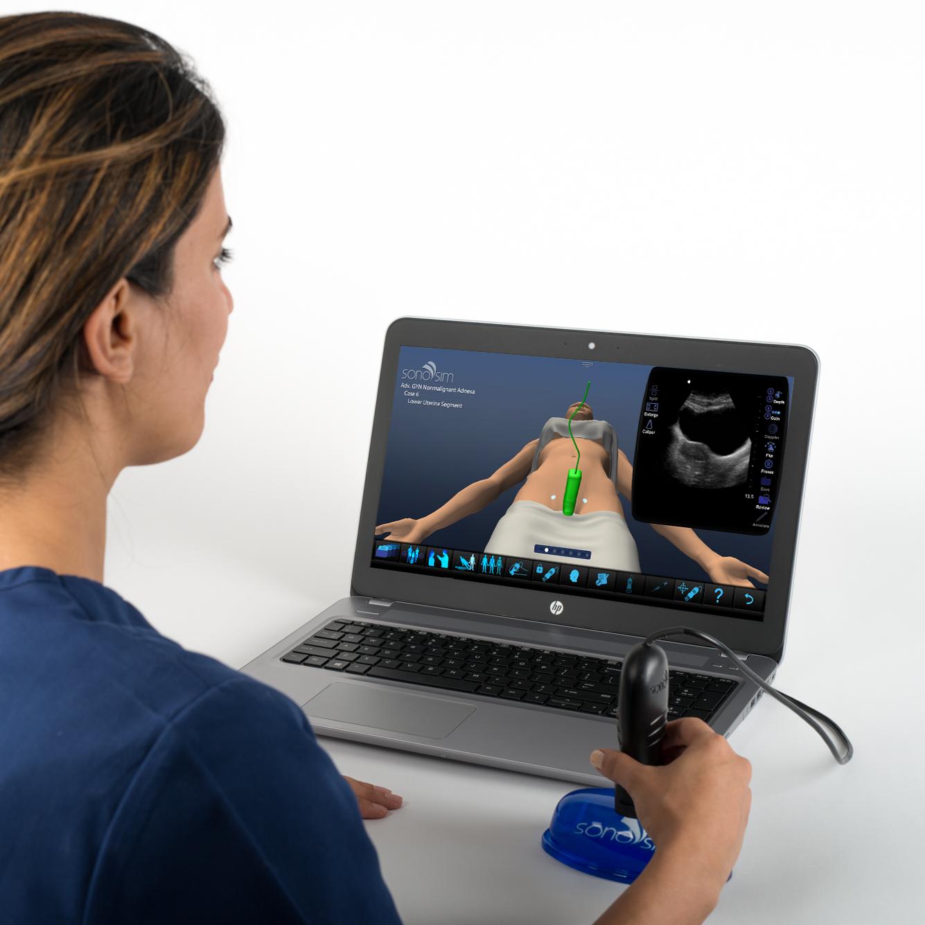 Simulador de ultrasonido para ultrasonido ginecológico Condiciones anexiales no malignas: Módulo clínico avanzado