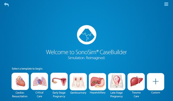 Page d'accueil SonoSim® CaseBuilder