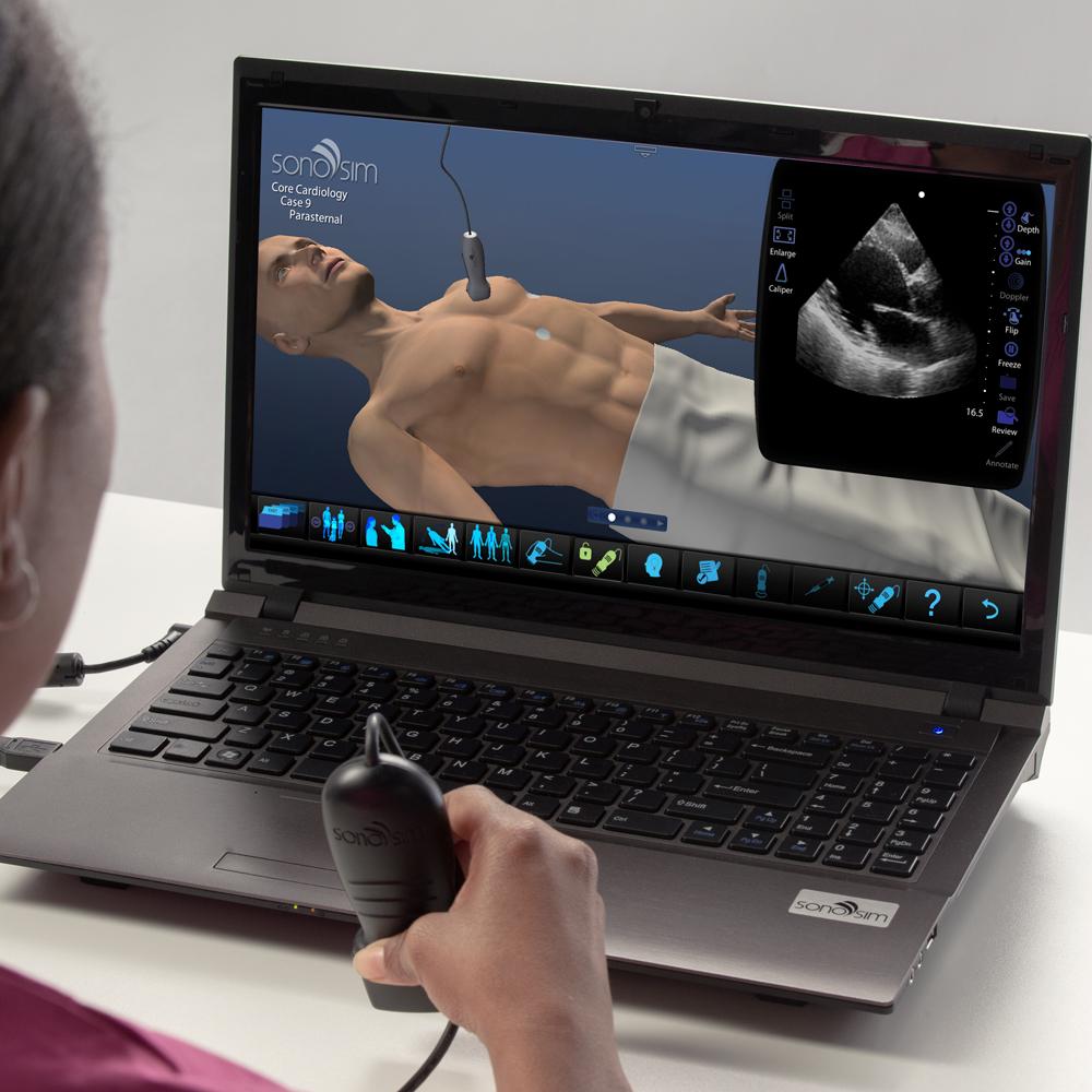 Simulateur à ultrasons pour cardiologie: module clinique de base